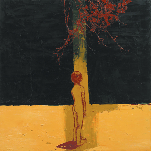 Ochre Boy Standing, 2006, Oil on canvas, 122 x 122cm